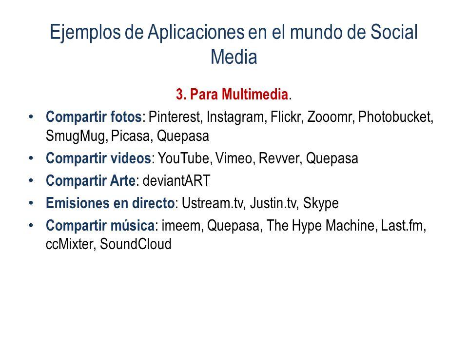 Ejemplos de Aplicaciones en el mundo de Social Media 3. Para Multimedia. Compartir fotos : Pinterest, Instagram, Flickr, Zooomr, Photobucket, SmugMug,