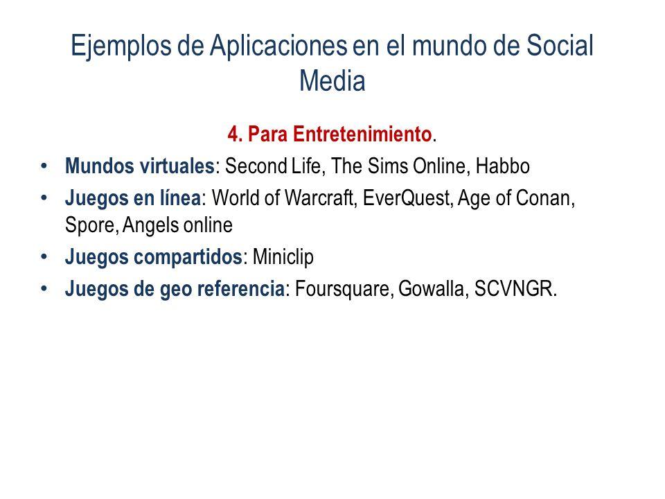 Ejemplos de Aplicaciones en el mundo de Social Media 4. Para Entretenimiento. Mundos virtuales : Second Life, The Sims Online, Habbo Juegos en línea :