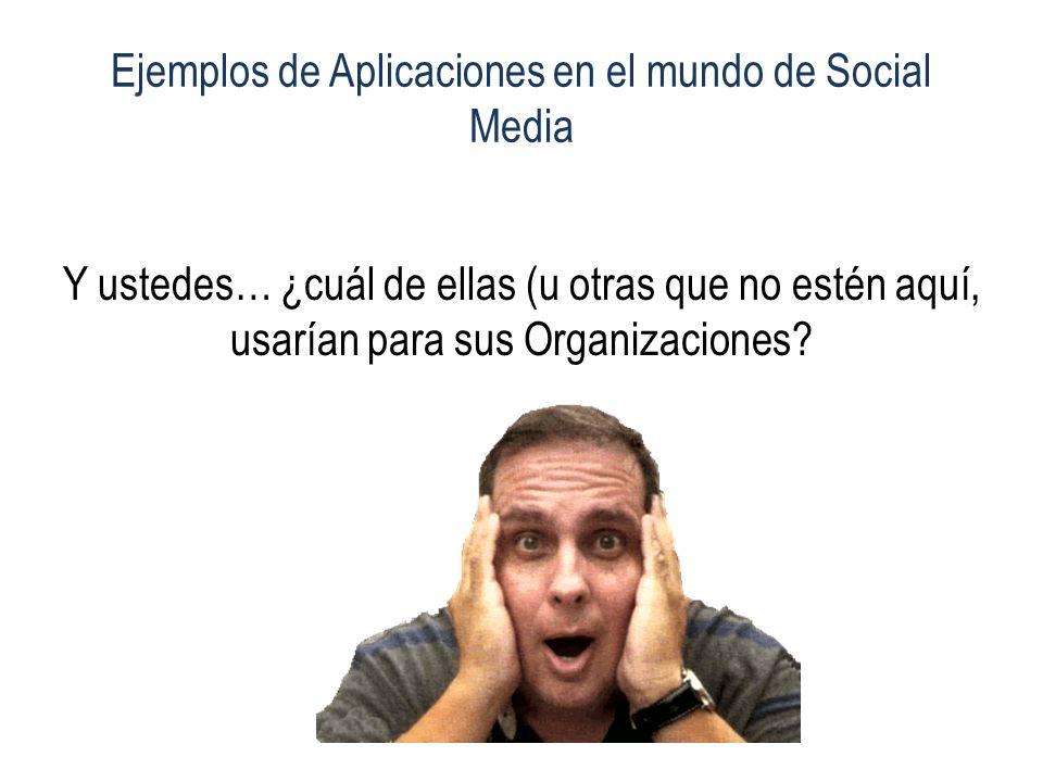 Ejemplos de Aplicaciones en el mundo de Social Media Y ustedes… ¿cuál de ellas (u otras que no estén aquí, usarían para sus Organizaciones?