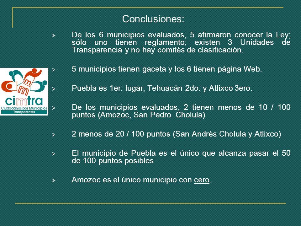 Conclusiones: De los 6 municipios evaluados, 5 afirmaron conocer la Ley; sólo uno tienen reglamento; existen 3 Unidades de Transparencia y no hay comités de clasificación.