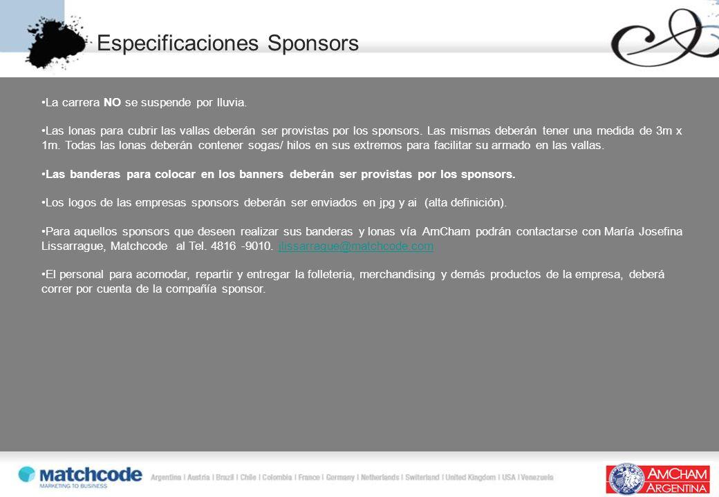 Especificaciones Sponsors La carrera NO se suspende por lluvia. Las lonas para cubrir las vallas deberán ser provistas por los sponsors. Las mismas de