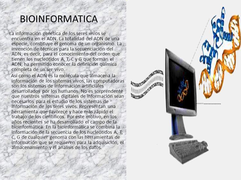 BIOINFORMATICA La información genética de los seres vivos se encuentra en el ADN. La totalidad del ADN de una especie, constituye el genoma de un orga