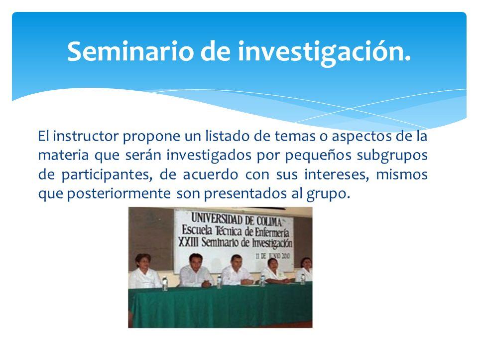 El instructor propone un listado de temas o aspectos de la materia que serán investigados por pequeños subgrupos de participantes, de acuerdo con sus