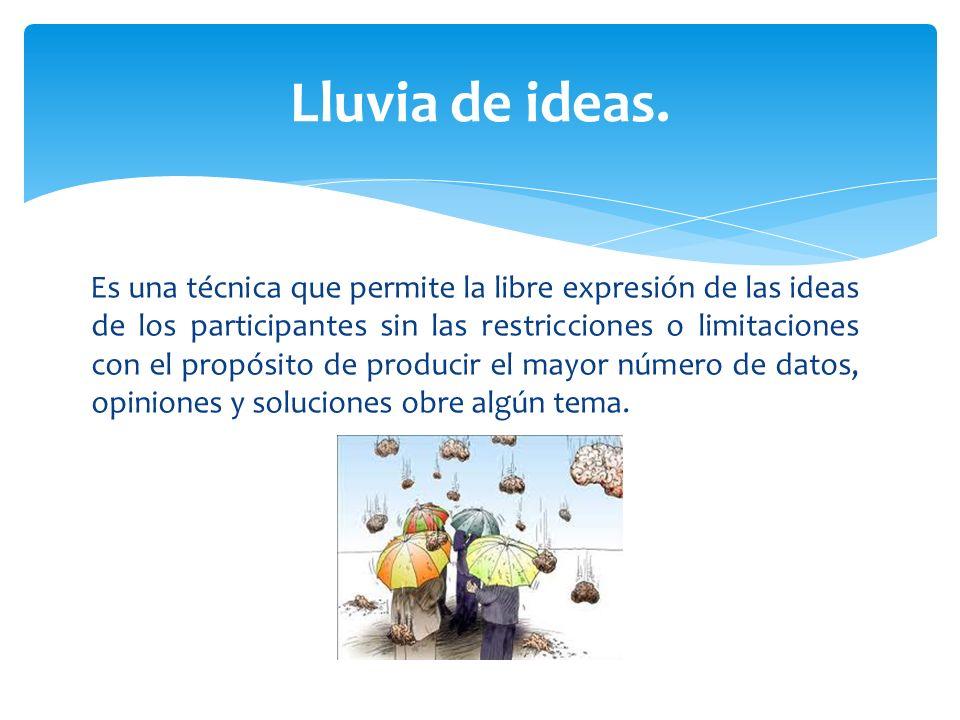 Es una técnica que permite la libre expresión de las ideas de los participantes sin las restricciones o limitaciones con el propósito de producir el m