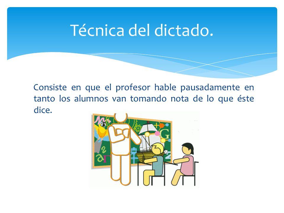 Consiste en que el profesor hable pausadamente en tanto los alumnos van tomando nota de lo que éste dice. Técnica del dictado.