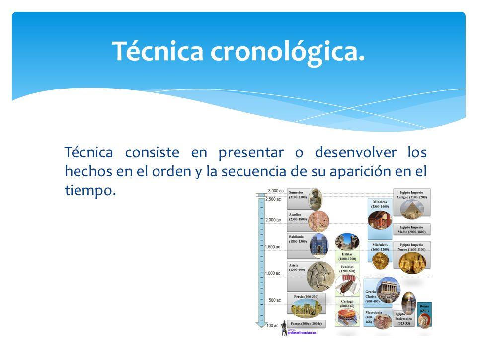 Técnica consiste en presentar o desenvolver los hechos en el orden y la secuencia de su aparición en el tiempo. Técnica cronológica.