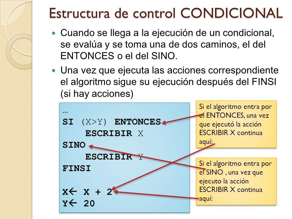 Estructura de control CONDICIONAL Cuando se llega a la ejecución de un condicional, se evalúa y se toma una de dos caminos, el del ENTONCES o el del S