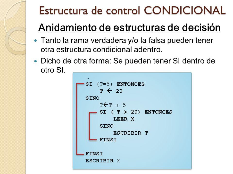 Estructura de control CONDICIONAL Anidamiento de estructuras de decisión Tanto la rama verdadera y/o la falsa pueden tener otra estructura condicional