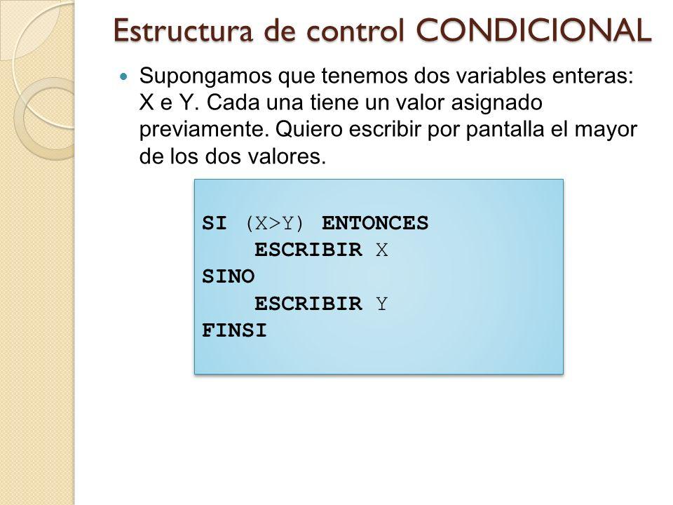 Estructura de control CONDICIONAL Cuando se llega a la ejecución de un condicional, se evalúa y se toma una de dos caminos, el del ENTONCES o el del SINO.