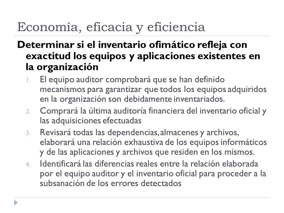 Economía, eficacia y eficiencia Determinar si el inventario ofimático refleja con exactitud los equipos y aplicaciones existentes en la organización 1.