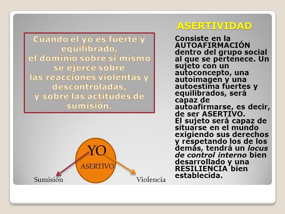 ASERTIVIDAD Consiste en la AUTOAFIRMACIÓN dentro del grupo social al que se pertenece. Un sujeto con un autoconcepto, una autoimagen y una autoestima