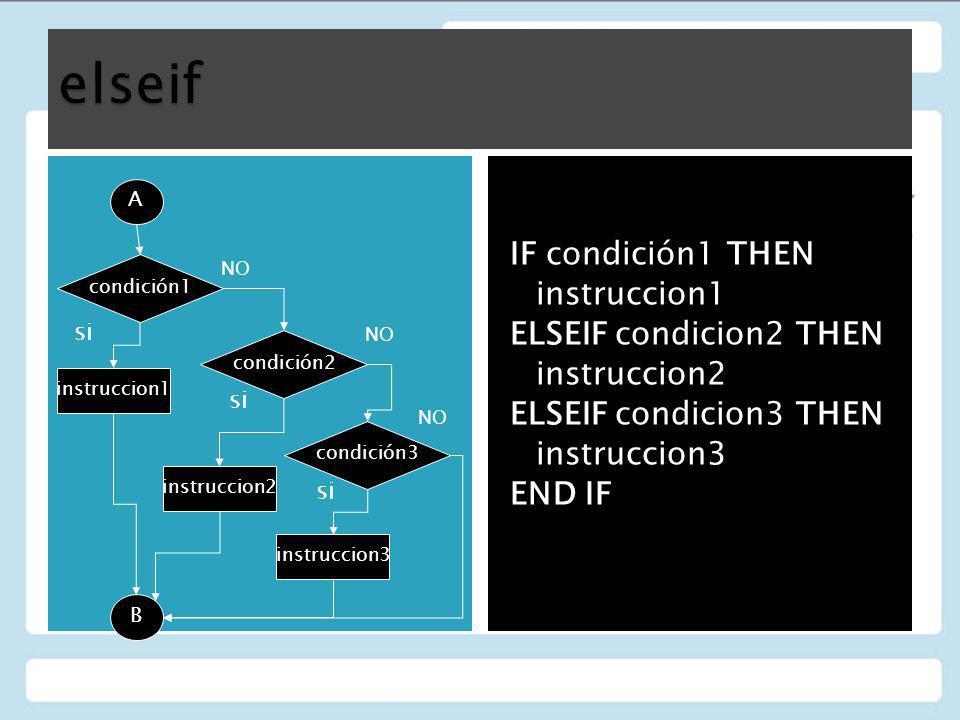 IF condición1 THEN instruccion1 ELSEIF condicion2 THEN instruccion2 ELSEIF condicion3 THEN instruccion3 END IF A condición1 condición2 condición3 inst