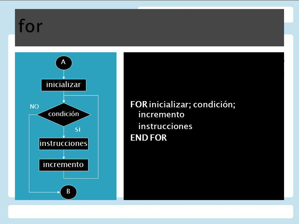 FOR inicializar; condición; incremento instrucciones END FOR A condición instrucciones B si NO inicializar incremento