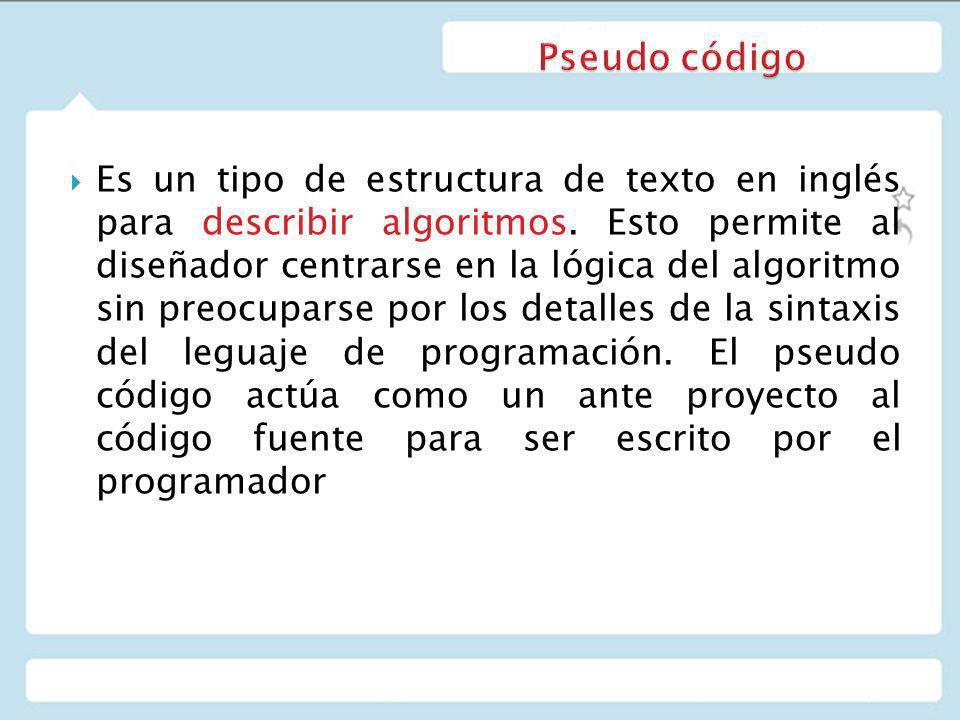 Es un tipo de estructura de texto en inglés para describir algoritmos.