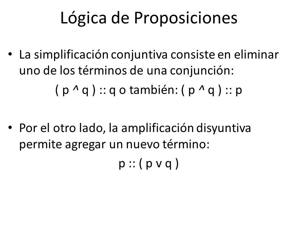 La simplificación conjuntiva consiste en eliminar uno de los términos de una conjunción: ( p ^ q ) :: q o también: ( p ^ q ) :: p Por el otro lado, la amplificación disyuntiva permite agregar un nuevo término: p :: ( p v q ) Lógica de Proposiciones