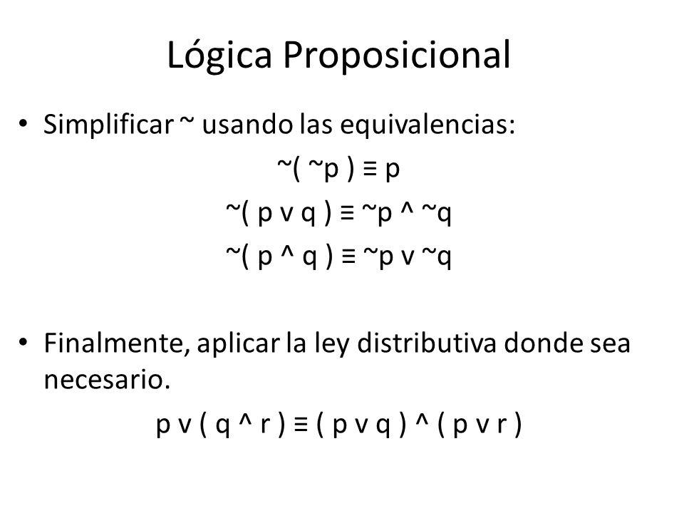 Lógica Proposicional Simplificar ~ usando las equivalencias: ~( ~p ) p ~( p v q ) ~p ^ ~q ~( p ^ q ) ~p v ~q Finalmente, aplicar la ley distributiva donde sea necesario.