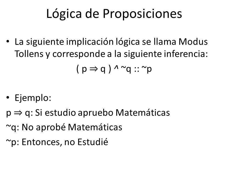 Lógica de Proposiciones La siguiente implicación lógica se llama Modus Tollens y corresponde a la siguiente inferencia: ( p q ) ^ ~q :: ~p Ejemplo: p q: Si estudio apruebo Matemáticas ~q: No aprobé Matemáticas ~p: Entonces, no Estudié