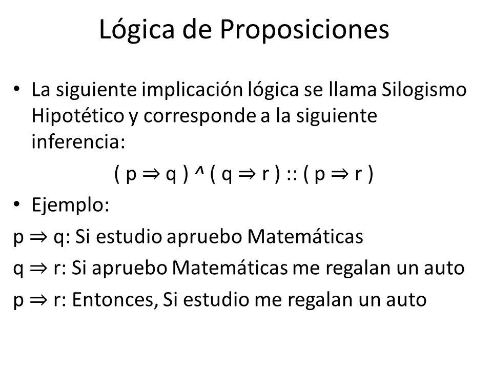 La siguiente implicación lógica se llama Silogismo Hipotético y corresponde a la siguiente inferencia: ( p q ) ^ ( q r ) :: ( p r ) Ejemplo: p q: Si estudio apruebo Matemáticas q r: Si apruebo Matemáticas me regalan un auto p r: Entonces, Si estudio me regalan un auto Lógica de Proposiciones