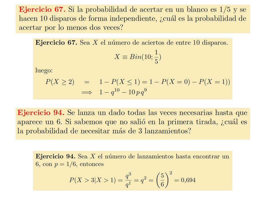 16 Características de la distribución binomial n = 5 p = 0.1 n = 5 p = 0.5 Media = E(X) = n p = 5 · 0.1 = 0.5 = 5 · 0.5 = 0.25 Desviación estándar 0.2.4.6 012345 X P(X).2.4.6 012345 X P(X) 0