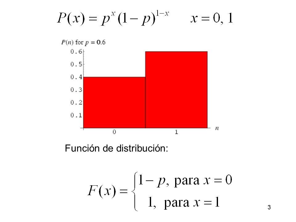 4 Ejercicio: Calcular la esperanza y la varianza de la distribución de Bernoulli.