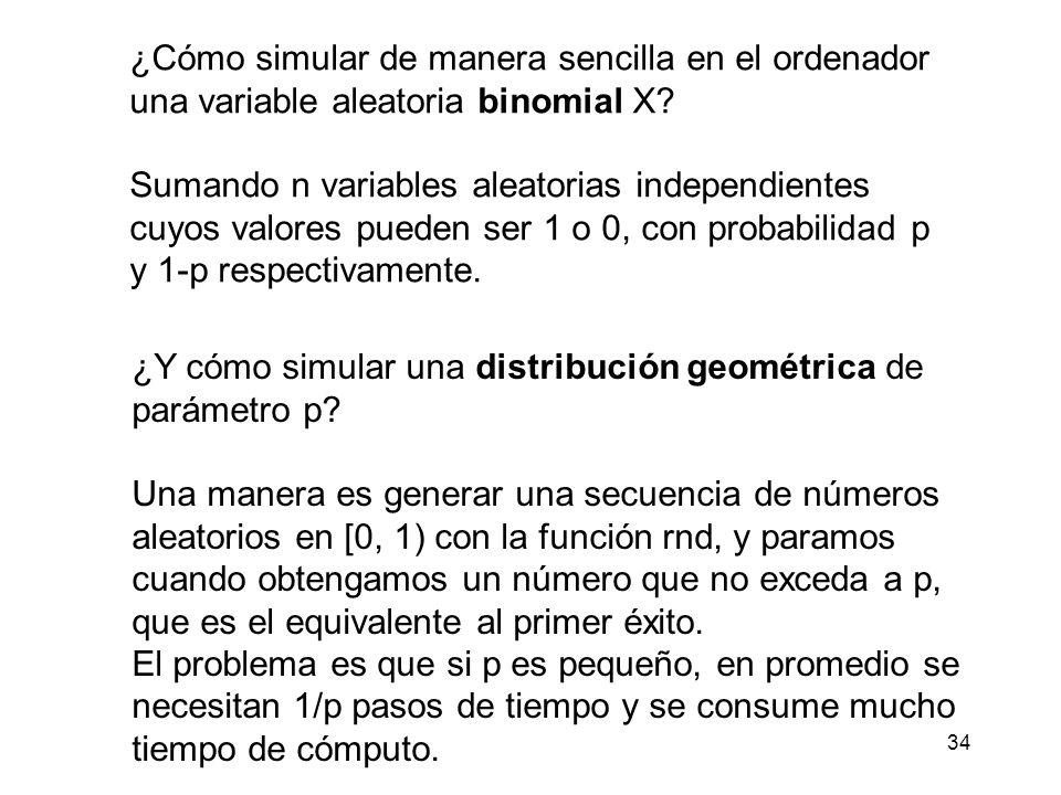 35 Una forma alternativa con tiempo de cómputo independiente del valor de p sería: Sea q = 1- p y definamos la variable Y como el menor entero que satisface: Entonces tenemos: De modo que Y está distribuida geométricamente con parámetro p.