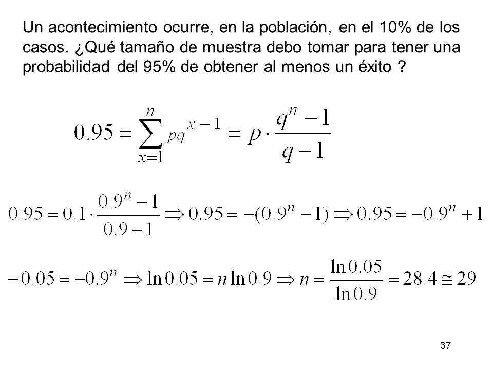 38 Distribución binomial negativa Consideremos el siguiente experimento: Partimos de un experimento de Bernoulli donde la probabilidad de que ocurra un suceso es p (éxito) y la probabilidad de que no ocurra q = 1- p (fracaso).