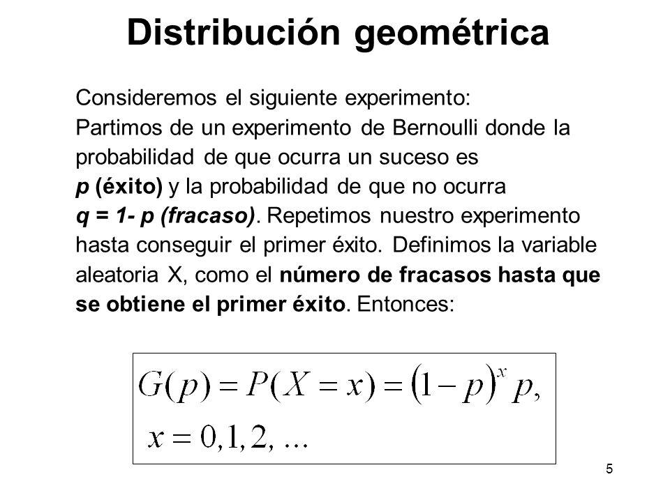 6 p(x) x Función de distribución: