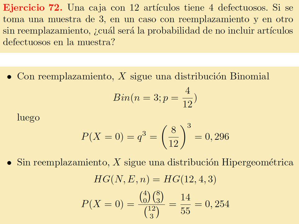 52 Distribución de Poisson Cuando en una distribución binomial el número de intentos (n) es grande y la probabilidad de éxito (p) es pequeña, la distribución binomial converge a la distribución de Poisson: Observa que si p es pequeña, el éxito es un suceso raro.