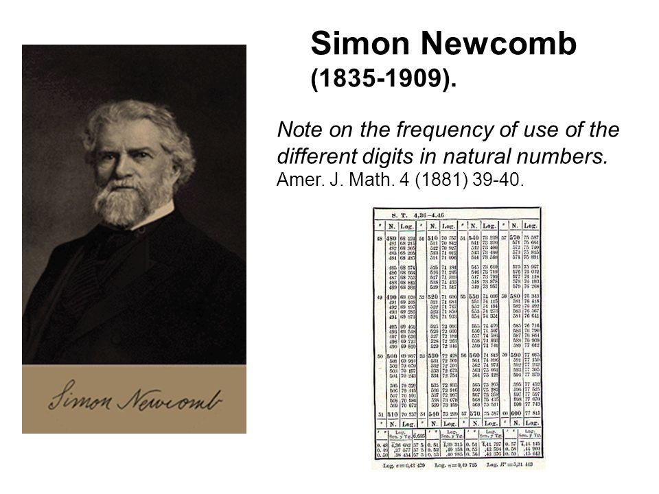 Note on the frequency of use of the different digits in natural numbers. Amer. J. Math. 4 (1881) 39-40. Simon Newcomb (1835-1909).