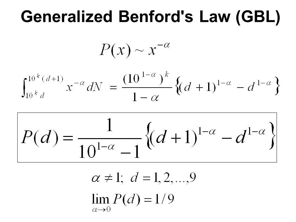 Generalized Benford's Law (GBL)