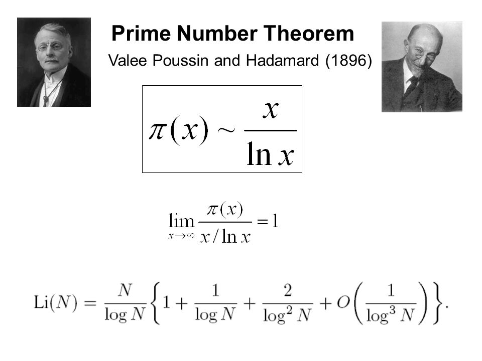 Prime Number Theorem Valee Poussin and Hadamard (1896)