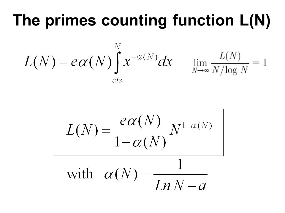 The primes counting function L(N)