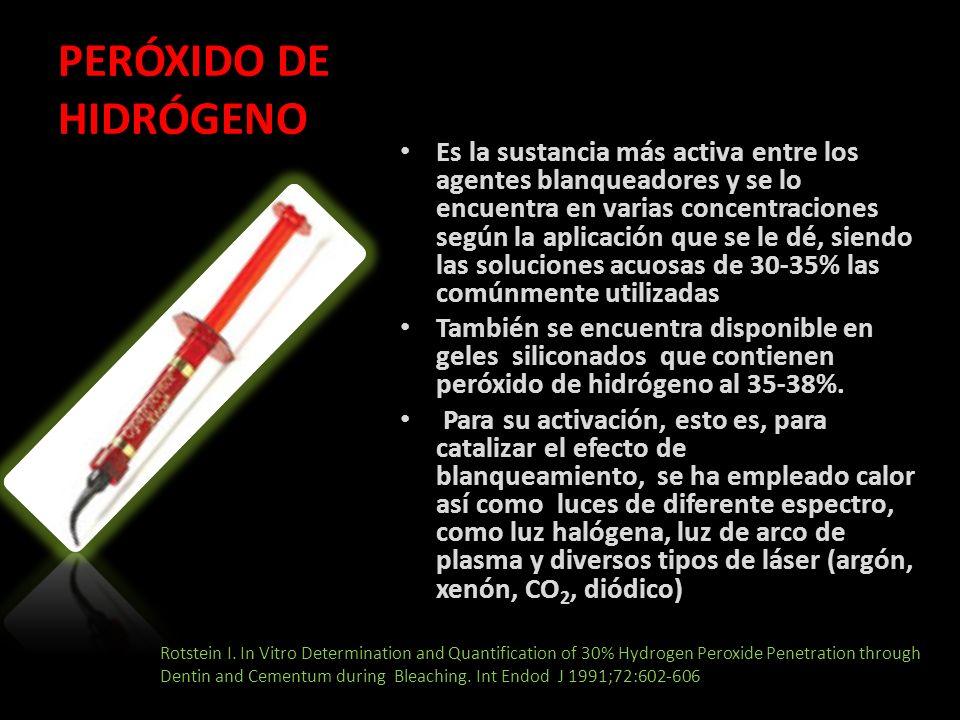 PERÓXIDO DE HIDRÓGENO Es la sustancia más activa entre los agentes blanqueadores y se lo encuentra en varias concentraciones según la aplicación que s