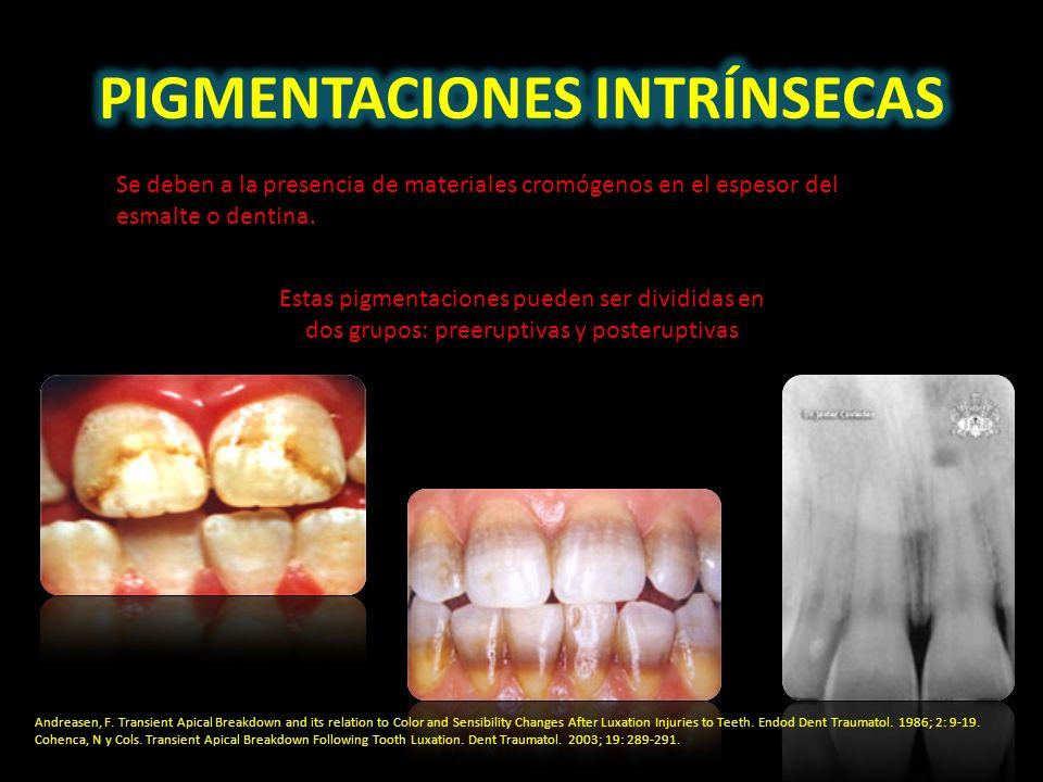 Se deben a la presencia de materiales cromógenos en el espesor del esmalte o dentina. Estas pigmentaciones pueden ser divididas en dos grupos: preerup