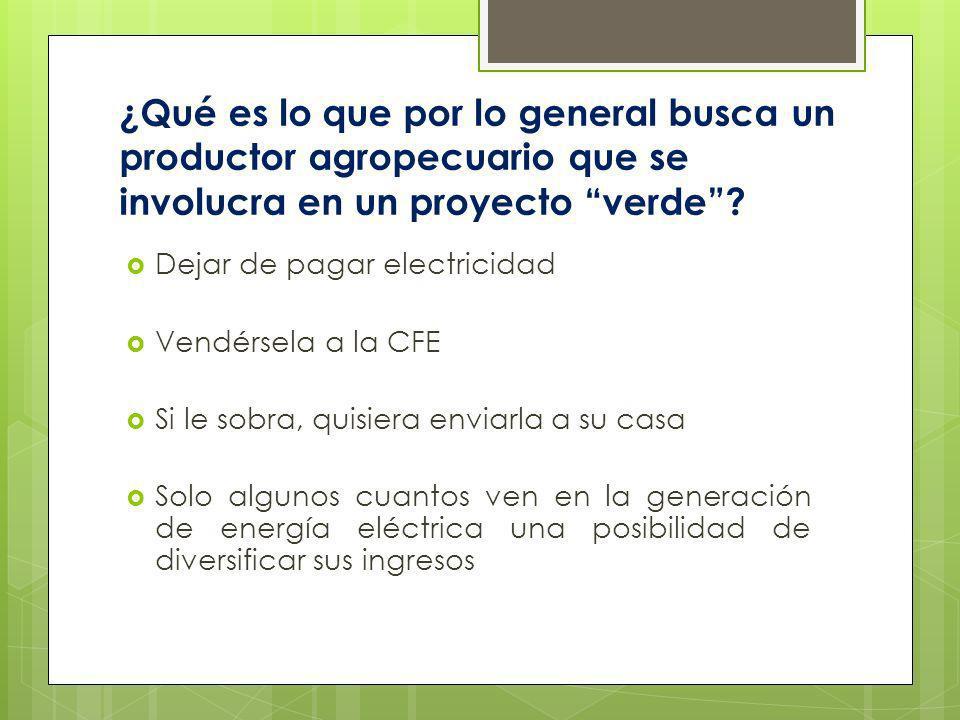 ¿Qué es lo que por lo general busca un productor agropecuario que se involucra en un proyecto verde? Dejar de pagar electricidad Vendérsela a la CFE S