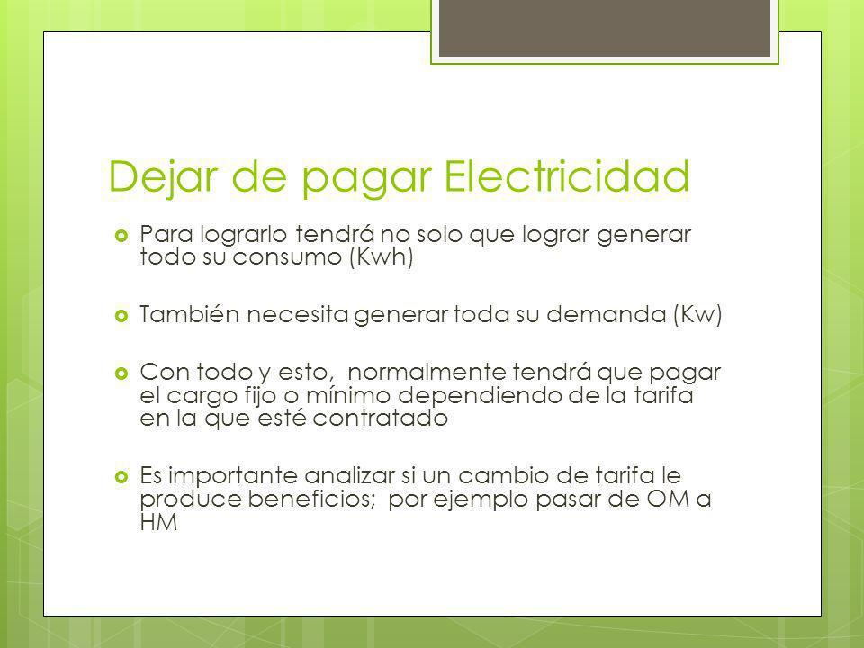 Dejar de pagar Electricidad Para lograrlo tendrá no solo que lograr generar todo su consumo (Kwh) También necesita generar toda su demanda (Kw) Con to