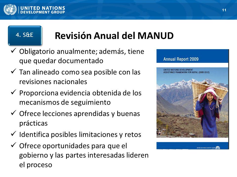 1. Road Map 11 Revisión Anual del MANUD 4. S&E Obligatorio anualmente; además, tiene que quedar documentado Tan alineado como sea posible con las revi