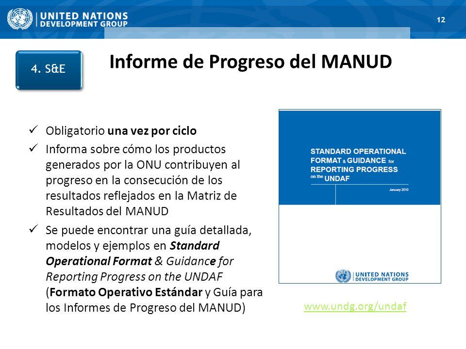 1. Road Map 12 Informe de Progreso del MANUD 4. S&E Obligatorio una vez por ciclo Informa sobre cómo los productos generados por la ONU contribuyen al
