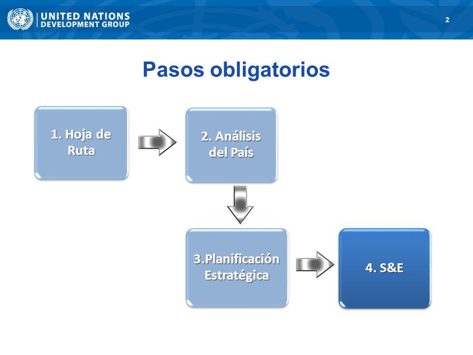 1. Road Map 2 3. Strategic Planning 1. Hoja de Ruta 2. Análisis del País 3.Planificació n Estratégica 4. S&E Pasos obligatorios