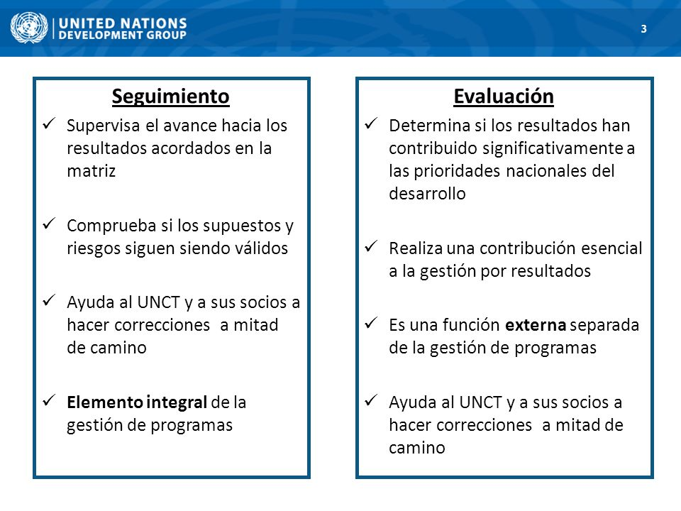 1. Road Map 3 Monitoring and Evaluation are distinct and required Seguimiento Supervisa el avance hacia los resultados acordados en la matriz Comprueb