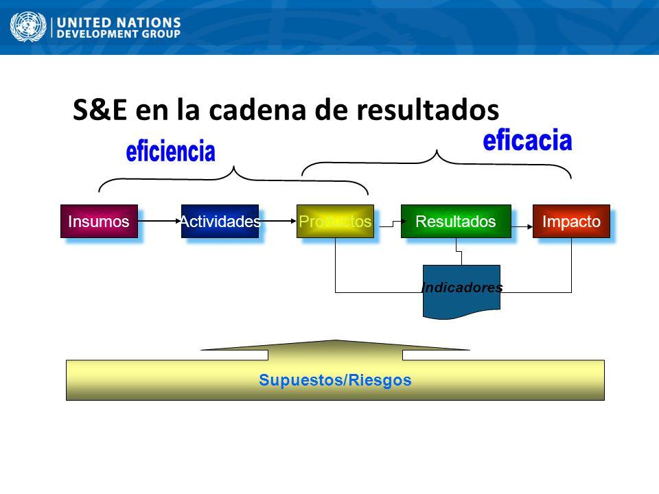 Insumos Actividades Productos Resultados Impacto Indicadores Supuestos/Riesgos S&E en la cadena de resultados
