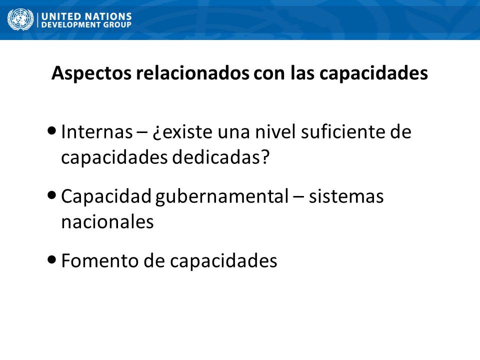 Aspectos relacionados con las capacidades Internas – ¿existe una nivel suficiente de capacidades dedicadas? Capacidad gubernamental – sistemas naciona
