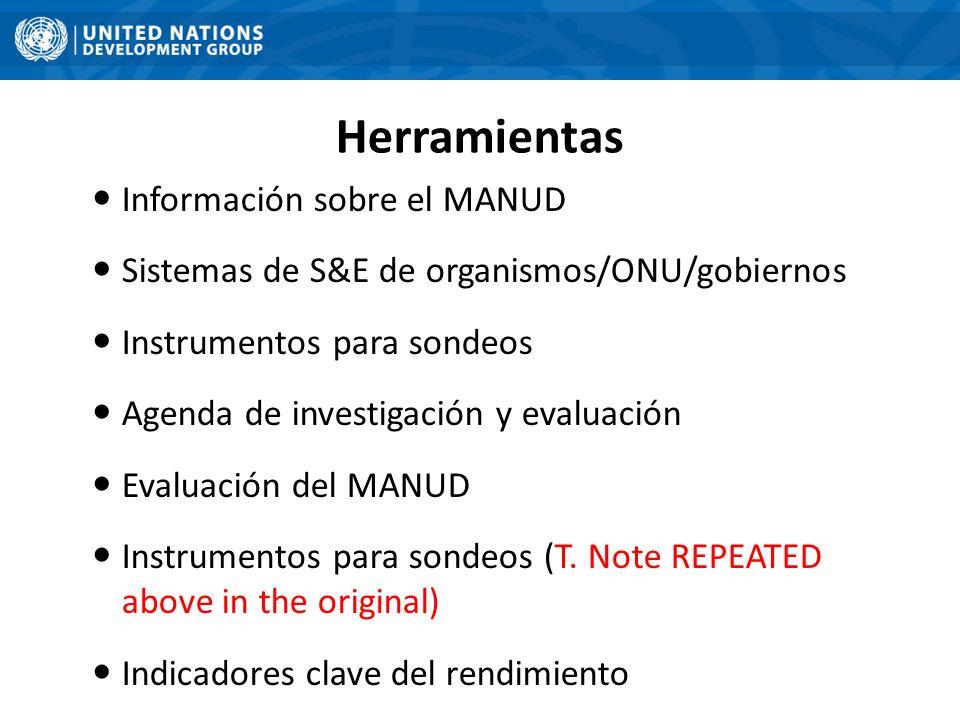 Herramientas Información sobre el MANUD Sistemas de S&E de organismos/ONU/gobiernos Instrumentos para sondeos Agenda de investigación y evaluación Eva