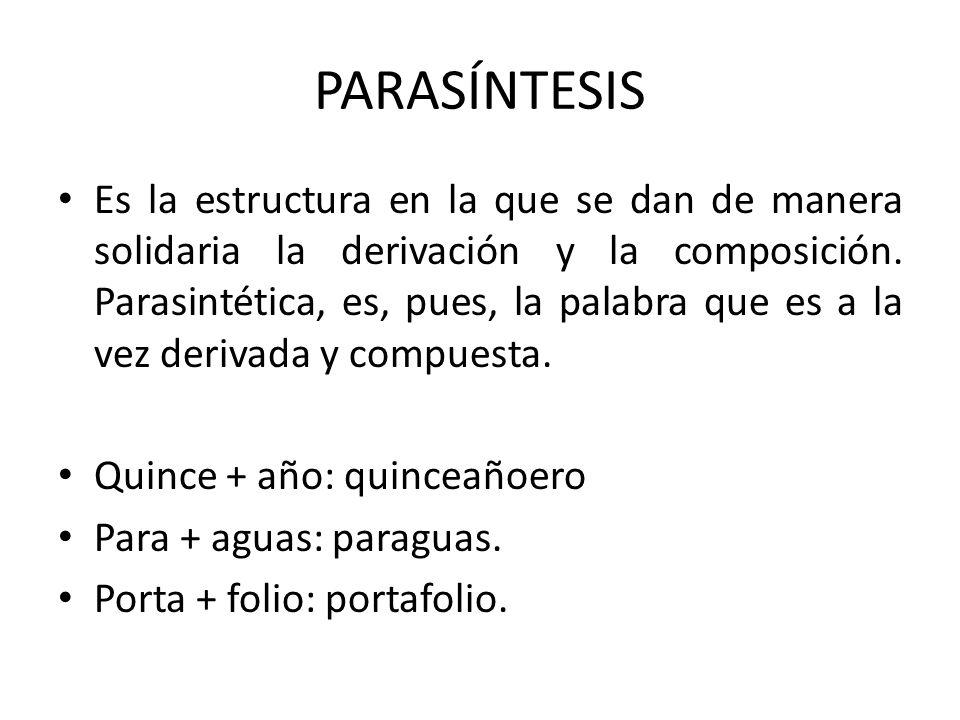 PARASÍNTESIS Es la estructura en la que se dan de manera solidaria la derivación y la composición. Parasintética, es, pues, la palabra que es a la vez