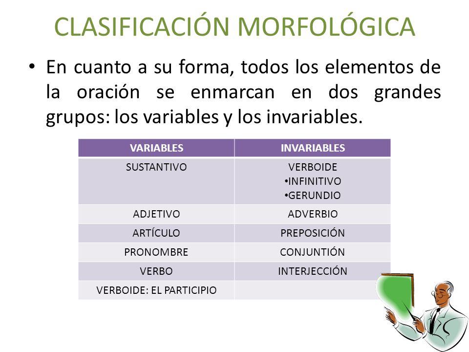 CLASIFICACIÓN MORFOLÓGICA En cuanto a su forma, todos los elementos de la oración se enmarcan en dos grandes grupos: los variables y los invariables.