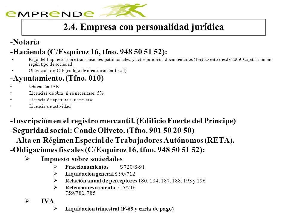 2.4. Empresa con personalidad jurídica -Notaría -Hacienda (C/Esquiroz 16, tfno. 948 50 51 52): Pago del Impuesto sobre transmisiones patrimoniales y a