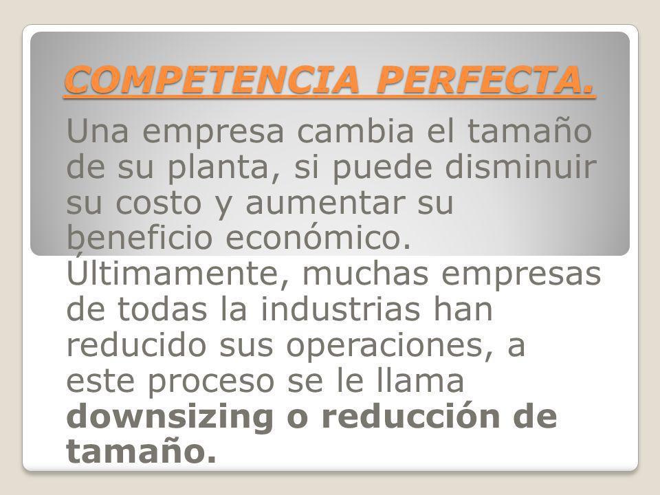 COMPETENCIA PERFECTA. Una empresa cambia el tamaño de su planta, si puede disminuir su costo y aumentar su beneficio económico. Últimamente, muchas em