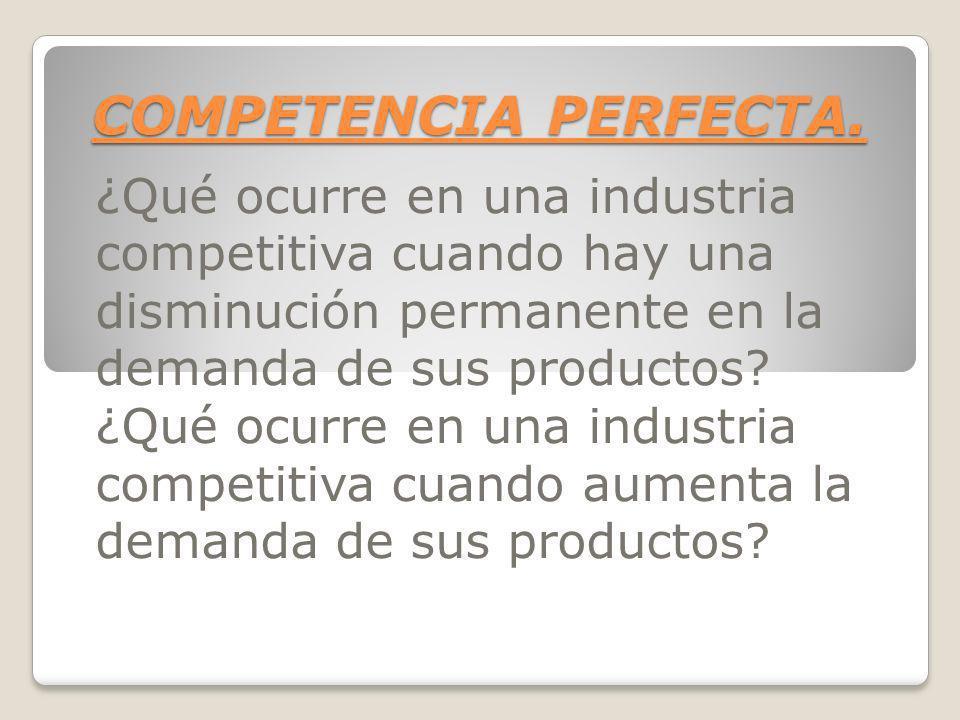 COMPETENCIA PERFECTA. ¿Qué ocurre en una industria competitiva cuando hay una disminución permanente en la demanda de sus productos? ¿Qué ocurre en un