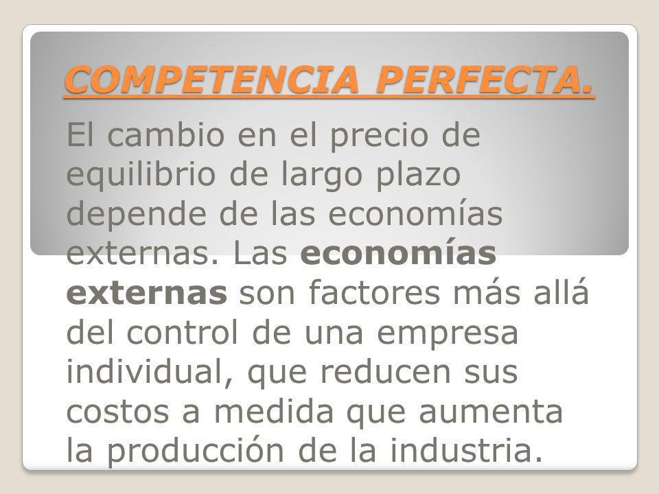 COMPETENCIA PERFECTA. El cambio en el precio de equilibrio de largo plazo depende de las economías externas. Las economías externas son factores más a