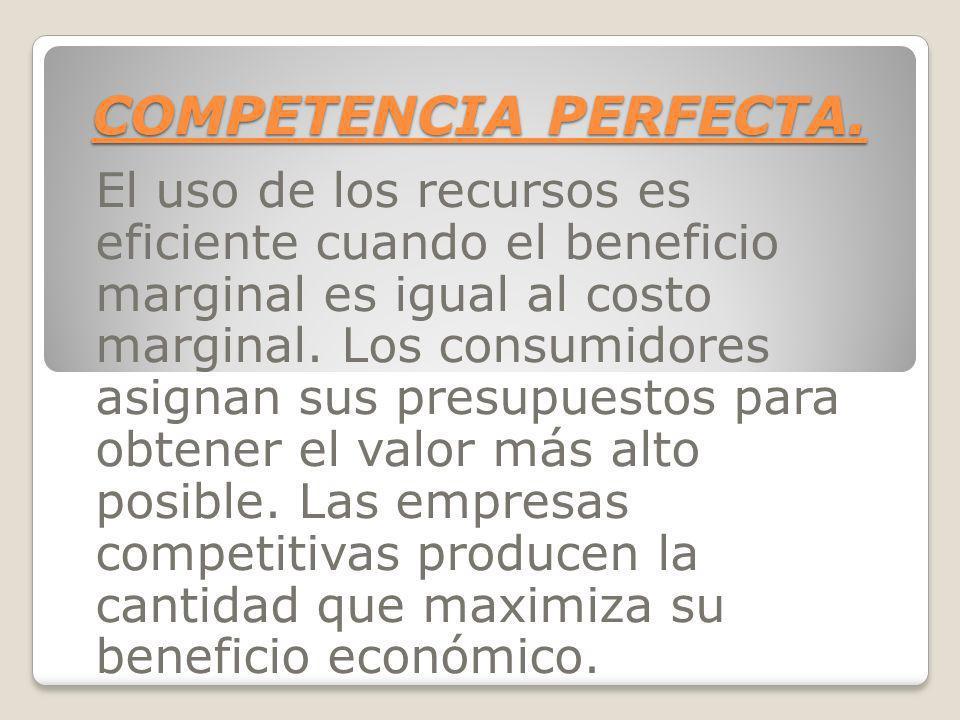 COMPETENCIA PERFECTA. El uso de los recursos es eficiente cuando el beneficio marginal es igual al costo marginal. Los consumidores asignan sus presup
